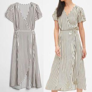 Gap Short Sleeve Midi Wrap Tie Dress Stripe Print